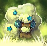 alternate_color commentary_request fluffy grass looking_at_viewer no_humans orange_eyes pokemon pokemon_(creature) sa-dui shiny_pokemon signature sitting smile solo whimsicott