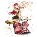 1girl :d black_skirt boots drum drumsticks floating_hair hair_ribbon hat instrument knee_boots layered_skirt long_hair looking_at_viewer music musical_note one_leg_raised open_mouth orange_eyes orange_footwear playing_instrument rain_(sao) redhead ribbon skirt sleeveless smile solo standing standing_on_one_leg sword_art_online thigh-highs white_hat white_legwear white_ribbon wrist_cuffs zettai_ryouiki