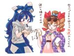 2girls :> ;o animal ant bangle blue_bow blue_eyes blue_hair blue_skirt blush bow bracelet brown_eyes brown_hair brown_hat centipede commentary_request debt dress drill_hair eyewear_on_head hair_bow hair_ribbon hand_on_hip hands_up hat hat_bow holding holding_animal hood hood_down hoodie insect itatatata jacket jewelry long_hair looking_at_viewer mouse multiple_girls necklace one_eye_closed open_clothes open_jacket pink_dress purple_jacket red_ribbon ribbon ring siblings simple_background sisters skirt smile sunglasses top_hat touhou translation_request twin_drills white_background white_bow yorigami_jo'on yorigami_shion