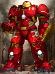 armor clenched_hands debris full_armor full_body gauntlets hulkbuster iron_man kfr legs_apart looking_at_viewer marvel no_humans standing