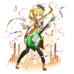 1girl black_legwear blonde_hair breasts cleavage floating_hair full_body green_eyes grin guitar hair_between_eyes hat holding holding_instrument instrument leafa long_hair looking_at_viewer medium_breasts orange_shorts outstretched_arm pointy_ears ponytail short_shorts shorts simple_background sleeveless smile solo standing sword_art_online thigh-highs v very_long_hair white_background white_hat wrist_cuffs zettai_ryouiki