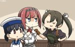 3girls :3 anger_vein ark_royal_(kantai_collection) bangs black_hair black_shirt blue_eyes blue_sailor_collar blunt_bangs bob_cut brown_eyes brown_gloves brown_hair brown_hakama camouflage cleavage_cutout closed_eyes commentary_request cowboy_shot dancing dress fingerless_gloves flower gloves grey_hair hairband hakama hakama_skirt hamu_koutarou hat hiburi_(kantai_collection) highres japanese_clothes kantai_collection long_hair long_sleeves low_twintails multiple_girls muneate red_flower red_ribbon red_rose redhead ribbon rose sailor_collar sailor_dress sailor_hat shirt short_hair tiara twintails white_hat zui_zui_dance zuikaku_(kantai_collection)