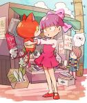 1girl 3boys amazou bangs blunt_bangs bow bowl_cut brown_hair cat crossover dress fish gegege_no_kitarou ghost green_eyes hair_bow hair_over_one_eye jibanyan kitarou multiple_boys nekomata nekomusume picking_up pink_dress poster purple_bow purple_hair red_footwear shirt short_hair shorts trait_connection vest whisper_(youkai_watch) youkai_watch