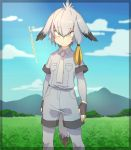 1girl bird_tail bird_wings blonde_hair bodysuit_under_clothes breast_pocket check_translation clouds collared_shirt commentary_request cowboy_shot eguegukun eyebrows_visible_through_hair fingerless_gloves gloves grass grey_hair hair_tie head_wings highres kemono_friends mountain multicolored_hair necktie pocket shirt shoebill_(kemono_friends) short_hair short_sleeves shorts sky solo translation_request wings yellow_eyes