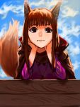 1girl :3 animal_ears bangs blue_sky blunt_bangs brown_hair cloak clouds cloudy_sky fang fang_out head_rest highres holo looking_at_viewer mlrudomiru outdoors pouch red_eyes sky smile solo spice_and_wolf tail wolf_ears wolf_tail