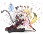 2girls animal_ears bell black_dress blonde_hair cat_ears cat_tail cup detached_sleeves dress drinking_glass fox_ears fox_tail hair_ornament hairclip hakama_skirt hand_on_another's_shoulder japanese_clothes jingle_bell kemomimi_vr_channel long_hair mikoko_(kemomimi_vr_channel) miniskirt multiple_girls navel nora_cat nora_cat_channel open_clothes open_mouth open_shirt pink_shirt red_eyes red_skirt ribbon sandals shirt sitting skirt smile tail tatsuhiko thigh-highs translation_request twintails two_side_up virtual_youtuber white_hair white_legwear