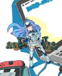 1girl android bare_shoulders blue_hair breasts chibi computer cyborg elbow_gloves expressionless forehead_protector gloves highres kos-mos kos-mos_re: laptop large_breasts leotard long_hair looking_at_viewer nib_pen_(medium) nintendo_switch red_eyes rooru_kyaabetsu solo standing thigh-highs traditional_media under_boob very_long_hair white_leotard xenoblade_(series) xenoblade_2 xenosaga