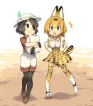 2girls animal_ears bag bare_shoulders black_hair blonde_hair bow bowtie bucket_hat clenched_hands commentary_request dirt eguegukun elbow_gloves eyebrows_visible_through_hair feathers gloves hat high-waist_skirt highres holding_object kaban_(kemono_friends) kemono_friends loafers multicolored_hair multiple_girls open_mouth pantyhose serval_(kemono_friends) serval_ears serval_print serval_tail shirt shoes short_hair short_sleeves shorts skirt smile t-shirt tail thigh-highs vest yellow_eyes zettai_ryouiki