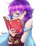 1girl bare_shoulders bespectacled blush book cape commentary dress embarrassed fire_emblem fire_emblem:_seima_no_kouseki glasses gloves highres holding holding_book ippers lute_(fire_emblem) md5_mismatch open_book purple_hair reading short_hair solo twintails violet_eyes wrist_cuffs