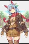 1girl :} animal_ears bandeau bangs belt_buckle belt_pouch blue_hair blue_sky breasts brown_belt brown_gloves brown_jacket brown_legwear buckle buttons carrot_necklace closed_mouth commentary fang feathers fingerless_gloves fur-trimmed_jacket fur_trim gloves grass green_feathers hair_between_eyes hair_feathers hair_ornament head_tilt highres jacket jewelry komase_(jkp423) legs_apart letterboxed long_sleeves looking_at_viewer medium_hair necklace open_clothes open_jacket original partially_unbuttoned pom_pom_(clothes) red_eyes red_scarf scarf shiny shiny_hair short_eyebrows sidelocks sky small_breasts smile solo spiky_hair standing sunlight thigh-highs tree zipper zipper_pull_tab