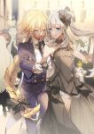 2girls alternate_costume black_bow black_gloves blonde_hair bow braid caster_(fate/zero) closed_eyes commentary dancing dress fate/grand_order fate_(series) formal gloves hair_bow hair_ornament hand_holding highres jeanne_d'arc_(fate) jeanne_d'arc_(fate)_(all) long_braid long_hair marie_antoinette_(fate/grand_order) multiple_girls necktie no-kan silver_hair single_braid smile sparkle strapless strapless_dress suit sweat very_long_hair white_gloves wolfgang_amadeus_mozart_(fate/grand_order)