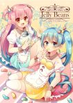 2girls :d apron bangs blue_eyes blue_hair blush breasts brown_eyes brown_ribbon candy closed_mouth collarbone commentary_request detached_collar engrish eyebrows_visible_through_hair fang fingernails food frilled_apron frilled_pillow frills hair_between_eyes hair_ribbon heart highres holding holding_candy holding_food jelly_bean long_hair multiple_girls open_mouth original pillow pink_hair pk_(mukasihasakana) puffy_short_sleeves puffy_sleeves ranguage ribbon shirt short_sleeves side_ponytail sidelocks skirt small_breasts smile striped striped_ribbon thigh-highs two_side_up very_long_hair waist_apron white_apron white_legwear white_shirt wrist_cuffs yellow_skirt
