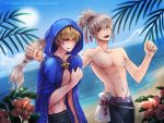 abs absurdres bare_chest beach blonde_hair eeveetachi embarrassed fire_emblem fire_emblem_heroes fire_emblem_if highres leon_(fire_emblem_if) male_swimwear ocean outdoors ponytail red_eyes smile swim_trunks swimwear takumi_(fire_emblem_if) white_hair