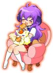 bad_id bread closed_eyes coco_(precure_5) couch cream_puff cream_puffs crossover eating food hanyuu higurashi_no_naku_koro_ni horns long_hair pastry precure pretty_cure purple_hair yes!_precure_5 yes!_pretty_cure_5