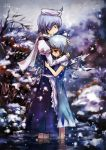 blue_hair cirno closed_eyes comforting hand_on_head highres hug jq letty_whiterock multiple_girls ribbon scarf short_hair snow tears touhou wading water