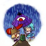 blonde_hair blue_hair chibi frog geta hat karakasa karakasa_obake moriya_suwako multiple_girls oriental_umbrella rain simple_background socha tatara_kogasa tongue touhou umbrella