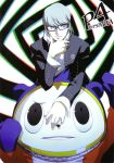 blue_eyes glasses grey_hair kuma_(persona_4) narukami_yuu official_art persona persona_4 school_uniform seta_souji shigenori_soejima smile soejima_shigenori