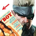 eyepatch facial_hair gloves headband magazine metal_gear_solid mustache old_snake parody playboy solid_snake white_hair