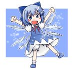 :d arms_up bloomers blue_eyes blue_hair blush_stickers cirno fang lowres open_mouth outstretched_arms short_hair sige smile solo spread_arms touhou