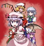 :/ blonde_hair blue_eyes bow braid fang fighting_stance flandre_scarlet hair_bow hat head_wings hitsuji_bako hong_meiling izayoi_sakuya koakuma lavender_hair long_hair maid maid_headdress o_o open_mouth patchouli_knowledge pointing purple_hair red_eyes red_hair remilia_scarlet short_hair side_ponytail silver_hair smile touhou tsurime twin_braids wings wrist_cuffs