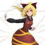 1girl black_shirt blonde_hair bow brown_dress dress eyebrows_visible_through_hair hair_bow karasu_hito kurodani_yamame leaning_forward long_sleeves looking_at_viewer mouth_hold ponytail red_eyes shirt short_hair silk solo spider_web string teeth touhou