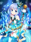 1girl :d bare_shoulders blue_eyes blue_hair commentary_request crown daydream_show drill_hair eyebrows_visible_through_hair gloves glowstick gochuumon_wa_usagi_desu_ka? hair_ornament idol ikataruto kafuu_chino knees_together_feet_apart long_hair looking_at_viewer microphone open_mouth smile snowflakes solo stage tippy_(gochiusa) twin_drills white_gloves x_hair_ornament