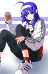 adidas ahoge artist_name blue_eyes blue_hair casual chaesu coffee_cup cup disposable_cup eyebrows_visible_through_hair hairband highres light_smile long_hair orie_(under_night_in-birth) pants red_legwear shoes sitting sneakers socks striped striped_background sweatpants sweatshirt under_night_in-birth white_hairband