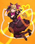 1girl :d animal_ears argyle argyle_legwear arm_up bangs black_dress black_footwear blonde_hair blush bow bowtie bracelet breasts brown_eyes cat_ears cleavage cleavage_cutout corset d.va_(overwatch) dazed dress earrings efmoe english eyebrows_visible_through_hair fake_animal_ears finger_gun frilled_dress frills full_body hair_bow heart heart_earrings high_heels jewelry layered_dress long_hair looking_at_viewer open_mouth orange_background outstretched_arm overwatch pantyhose pearl_bracelet pink_bow pink_neckwear puffy_short_sleeves puffy_sleeves short_sleeves signature smile solo v