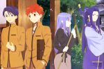 1girl 3boys absurdres assassin_(fate/stay_night) bag black_shirt blue_eyes blue_hair blue_kimono braid breasts broom brown_bag brown_jacket brown_pants brown_skirt bush caster company_name emiya-san_chi_no_kyou_no_gohan emiya_shirou fate/stay_night fate_(series) glasses highres holding holding_broom homurahara_academy_uniform jacket japanese_clothes kimono kito_hiroko lavender_eyes lavender_hair looking_at_another magazine_request matsuyama_shizuka medea_(fate)_(all) medium_breasts multiple_boys official_art open_mouth orange_eyes orange_hair outdoors pants petals pointy_ears ponytail raglan_sleeves ryuudou_issei scan school_uniform semi-rimless_eyewear shimabukuro_ricardo shirt single_braid skirt smile sword talking tree ushio_yurie weapon white_shirt