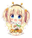 1girl :d ankleband antennae bangs barefoot bee_costume blonde_hair blue_eyes blush chibi commentary_request dress eyebrows_visible_through_hair fake_antennae flower frilled_dress frills hair_flower hair_ornament hairband holding holding_flower looking_at_viewer open_mouth orange_scrunchie original pan_(mimi) simple_background sitting smile solo striped striped_dress twintails wariza white_background wings wristband