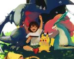1girl :d arm_up bag bangs bare_arms bob_cut brown_hair claws closed_eyes dandelion flower full_body garchomp gen_1_pokemon gen_2_pokemon gen_4_pokemon grass green_shorts handbag holding indian_style legendary_pokemon mayo_cha mizuki_(pokemon_sm) nintendo_switch open_mouth pikachu pokemon pokemon_(creature) pokemon_(game) pokemon_sm red_footwear shirt shoes short_hair short_sleeves shorts sitting smile socks solo spikes suicune teeth tied_shirt tongue tree white_shirt yellow_legwear