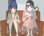 2girls absurdres bangs black_hair blue_hair blunt_bangs coffee_mug couch crossed_arms crossover cup expressionless eyebrows_visible_through_hair feet_out_of_frame frown green_hoodie hair_bun highres indoors kao_(user_rvtc2723) kobuchizawa_shirase leg_hug long_hair looking_at_viewer mug multiple_girls nightgown object_hug on_couch shima_rin short_hair sidelocks sitting sora_yori_mo_tooi_basho stuffed_animal stuffed_penguin stuffed_toy tearing_up violet_eyes wavy_mouth yurucamp