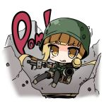 1girl :> :p bangs black_legwear blonde_hair blunt_bangs blush brown_jacket brown_shorts camouflage camouflage_jacket camouflage_shorts closed_mouth commentary_request dual_wielding eyebrows_visible_through_hair fukaziroh_(sao) grenade_launcher gun helmet holding holding_gun holding_weapon jacket long_hair long_sleeves m32 milkor_mgl pantyhose shirasu_youichi short_shorts shorts sidelocks solo striped striped_legwear sword_art_online sword_art_online_alternative:_gun_gale_online tongue tongue_out v-shaped_eyebrows vertical-striped_legwear vertical_stripes very_long_hair weapon weapon_request yellow_eyes