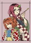 2girls :3 apron bell blush_stickers book border brown_eyes brown_hair checkered checkered_scarf futatsuiwa_mamizou futatsuiwa_mamizou_(human) glasses hair_bell hair_intakes hair_ornament halftone haori highres holding holding_book holding_pipe japanese_clothes jingle_bell kiseru lavender_background leaf leaf_hair_ornament leaf_on_head long_sleeves motoori_kosuzu multiple_girls natsushiro one_eye_closed pince-nez pipe red_eyes redhead scarf touhou