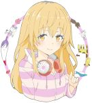 1girl absurdres blonde_hair blush closed_mouth copyright_request cropped_torso donguri_suzume eyebrows_visible_through_hair hand_up headphones headphones_around_neck highres hood hood_down hoodie long_sleeves looking_at_viewer smile solo striped striped_hoodie upper_body yellow_eyes