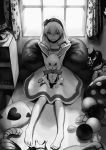 1girl alice_(wonderland) alice_in_wonderland barefoot cabinet caterpillar_(wonderland) cheshire_cat closed_mouth crown dress flower greyscale hair_flower hair_ornament hairband highres indoors looking_at_viewer medium_hair monochrome pillow plant potted_plant queen_of_hearts romiy short_hair sitting smile stuffed_animal stuffed_bunny stuffed_toy white_rabbit window