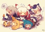 5girls :< =_= animal animal_ears bangs barefoot bird bird_tail black_hair black_ribbon blonde_hair blue_hair blush bow bowtie chibi closed_eyes closed_mouth coat commentary_request elbow_gloves eyebrows_visible_through_hair facing_viewer fang frilled_sleeves frills fur-trimmed_coat fur-trimmed_sleeves fur_collar fur_trim geta gloves grey_coat grey_jacket grey_legwear grey_shorts hair_between_eyes head_wings high-waist_skirt highres hood hood_up hoodie jacket japanese_crested_ibis_(kemono_friends) kemono_friends long_sleeves lying multicolored_hair multiple_girls muuran neck_ribbon necktie northern_white-faced_owl_(kemono_friends) on_stomach open_mouth orange_hair panties pantyhose parted_lips pink_bow print_gloves print_legwear print_neckwear print_skirt profile redhead ribbon serval_(kemono_friends) serval_ears serval_print serval_tail shirt shoebill shoebill_(kemono_friends) shoes_removed shorts silver_hair sitting skirt sleeveless sleeveless_shirt sleeves_past_fingers sleeves_past_wrists snake_tail spoken_squiggle squiggle striped_hoodie striped_tail tail thigh-highs translation_request triangle_mouth tsuchinoko_(kemono_friends) underwear white_hair white_jacket white_neckwear white_panties white_shirt