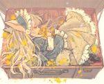 1girl animal_ears blonde_hair closed_eyes flower frilled_skirt frills hair_flower hair_ornament headdress highres holding holding_flower in_container itou_hachi long_hair long_skirt original skirt smelling_flower suitcase tail