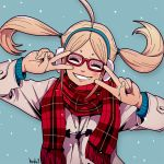 1girl ahoge blonde_hair double_v earmuffs glasses harada_yuuichi jacket original red-framed_eyewear scarf simple_background smile snowing solo twintails upper_body v