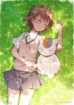 1girl artist_name bangs brown_hair commentary_request crossover eyebrows_visible_through_hair flower grass grey_skirt hair_between_eyes hair_flower hair_ornament lying madara_(natsume_yuujinchou) misaka_mikoto natsume_yuujinchou outdoors pleated_skirt puma_(hyuma1219) school_uniform shirt_hair short_sleeves skirt sleeping sweater_vest to_aru_kagaku_no_railgun to_aru_majutsu_no_index tokiwadai_school_uniform
