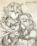 1boy 1girl aqua_(fire_emblem_if) cape fire_emblem fire_emblem_if graphite_(medium) long_hair looking_at_viewer male_my_unit_(fire_emblem_if) my_unit_(fire_emblem_if) pointy_ears shiratsu_(white-seaside) smile traditional_media