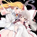 2girls :d adapted_costume bare_shoulders black_background blonde_hair blush bow bridal_veil brown_eyes brown_hair carrying collared_shirt commentary_request confetti dress feet_out_of_frame hair_bow hair_tubes hakurei_reimu hug jacket jewelry kirisame_marisa long_hair long_sleeves multiple_girls necktie open_mouth pants princess_carry ring round_teeth shirt simple_background smile teeth touhou vanilla_(miotanntann) veil w wedding_band wedding_dress white_bow white_jacket white_neckwear white_pants wife_and_wife wing_collar yellow_eyes yuri