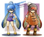2girls ahoge arms_at_sides bangs bare_arms bare_shoulders black_hat black_legwear blue_eyes blue_hair blunt_bangs blush boots breasts bright_pupils brown_footwear closed_mouth coat contrapposto domino_mask eyebrows eyebrows_visible_through_hair frown full_body fur_collar fur_trim hand_on_hip hat inkling legs_apart long_hair mask multiple_girls name_tag orange_coat orange_eyes orange_hair pantyhose pocket pointy_ears pom_pom_(clothes) purple_swimsuit rascal sandals school_swimsuit shadow short_hair_with_long_locks small_breasts smile splatoon splatoon_1 standing suction_cups swimsuit tentacle_hair v-shaped_eyebrows very_long_hair white_pupils