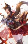 1girl aiguillette akagi_(azur_lane) animal_ears azur_lane bangs blush breasts brown_hair brown_legwear cleavage collarbone cowboy_shot eyebrows_visible_through_hair floating_hair fox_ears fox_tail from_behind gloves gradient gradient_background hair_in_mouth hair_ornament half-closed_eyes hand_up hayataku1234 head_tilt highres japanese_clothes large_breasts long_hair looking_at_viewer looking_back multiple_tails parted_lips partly_fingerless_gloves petals pleated_skirt red_eyes red_skirt shikigami sidelocks simple_background skirt sleeves_past_wrists smile solo tail tassel thigh-highs thighs wide_sleeves wind wind_lift