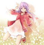 1girl :p ahoge alternate_costume bangs bracelet dress full_body hair_tubes highres hood hood_down hoodie horizontal_stripes jewelry long_hair looking_at_viewer medium_sleeves pink_hoodie purple_hair sandals sidelocks simple_background solo striped tongue tongue_out toromera violet_eyes vocaloid white_dress yuzuki_yukari