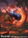 clouds cloudy_sky company_name deer dinosaur fangs fire force_of_will glowing glowing_eyes grass horns leaf nekoemonn no_humans official_art orange_eyes rabbit sky tree