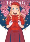 1girl blonde_hair blue_background blue_eyes choker commentary curly_hair dated dress earrings eyelashes flower fullmetal_alchemist gloves happy hat holy_pumpkin jewelry long_hair number petals pink_flower red_dress ribbon rose smile standing two-tone_background upper_body white_background winry_rockbell