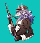 1boy blue_background brown_gloves brown_hat brown_jacket closed_mouth commentary_request copyright_request fingerless_gloves from_side furry gloves green_eyes gun hand_up hat highres holding holding_gun holding_weapon jacket long_hair male_focus purple_hair rifle simple_background solo tenobe upper_body weapon wolf