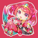 1girl bangs chibi covered_navel earrings fingerless_gloves gloves homura_(xenoblade_2) jewelry red_shorts redhead shorts shoulder_armor sidelocks solo swept_bangs sword tiara weapon xenoblade_(series) xenoblade_2 yasaikakiage