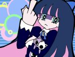 animal_ears artist_request bangs blue_background blue_dress blue_hair blunt_bangs bow cat_ears doll dress gothic hair_bow hand_up holding holding_doll honekoneko_(psg) long_hair long_sleeves looking_at_viewer middle_finger multicolored_hair panty_&_stocking_with_garterbelt stocking_(psg)